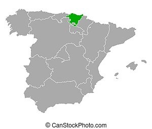 Map of Basque Country in Spain