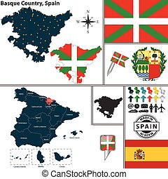 Map of Basque Country, Spain - Vector map of region of...