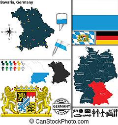 Map of Bavaria, Germany