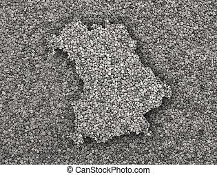 Map of Bavaria on poppy seeds