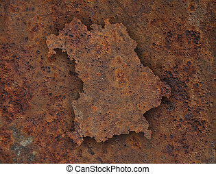 Map of Bavaria on rusty metal