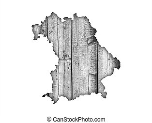 Map of Bavaria on weathered wood