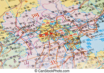 Map of Beijing, China.