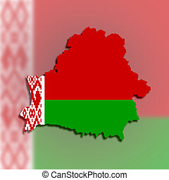 Map of Belarus filled with flag