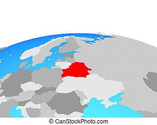 Map of Belarus on globe