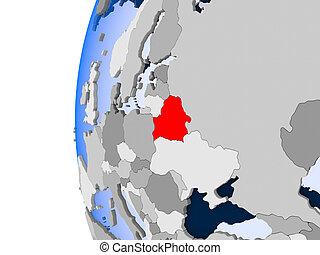 Map of Belarus on political globe