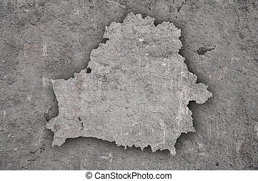 Map of Belarus on weathered concrete