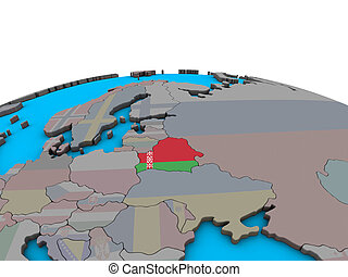 Map of Belarus with flag on globe
