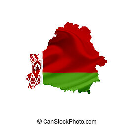 Map of Belarus with waving flag isolated on white