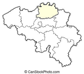 Map of Belgium, Antwerp highlighted - Political map of...