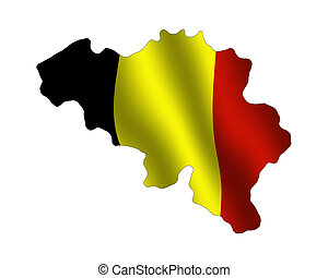 Map of Belgium filled with its waving flag