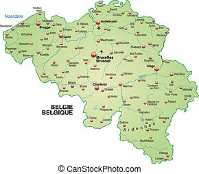 Map of Belgium as an overview map in pastel green