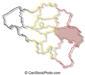 Map of Belgium, Liege highlighted