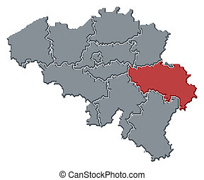 Map of Belgium, Liege highlighted - Political map of Belgium...