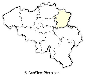 Map of Belgium, Limburg highlighted - Political map of...