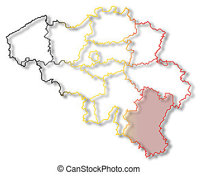 Map of Belgium, Luxembourg highlighted