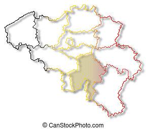 Map of Belgium, Namur highlighted