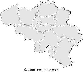 Political map of Belgium with the several states.