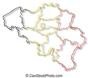 Map of Belgium - Political map of Belgium with the several ...