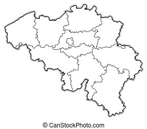 Map of Belgium - Political map of Belgium with the several...