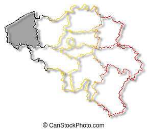Map of Belgium, West Flanders highlighted - Political map of...