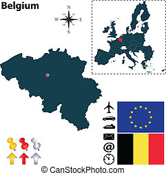 Map of Belgium with European Union