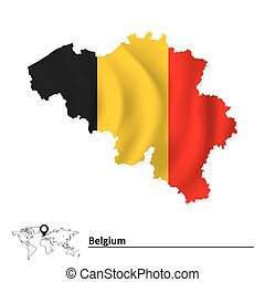 Map of Belgium with flag