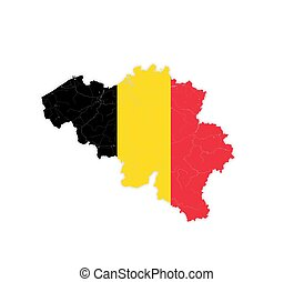 Map of Belgium with rivers and lakes in colors of the national flag.