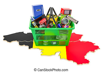 Map of Belgium with shopping basket full of home and kitchen appliances, 3D rendering