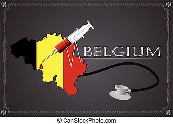 Map of Belgium with Stethoscope and syringe.