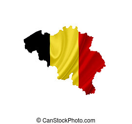 Map of Belgium with waving flag isolated on white