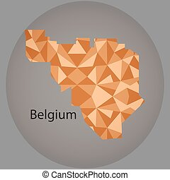 map of Belgium,low polygon