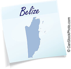 Map of belize as sticky note