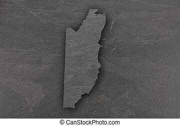 Map of Belize on dark slate
