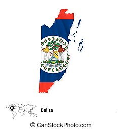 Map of Belize with flag