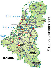 Map of Benelux with highways in pastel green