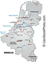 Map of Benelux as an overview map in gray