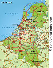 Map of Benelux with highways