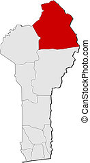 Map of Benin, Alibori highlighted