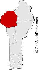 Map of Benin, Atakora highlighted