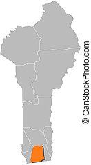 Map of Benin, Atlantique highlighted