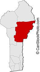 Map of Benin, Borgou highlighted