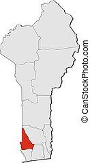 Map of Benin, Kouffo highlighted