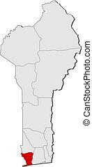 Map of Benin, Mono highlighted