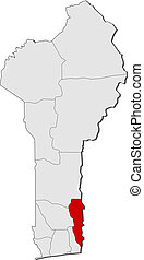 Map of Benin, Plateau highlighted