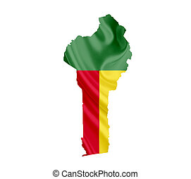 Map of Benin with waving flag isolated on white