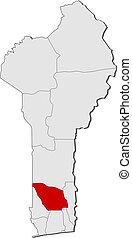 Map of Benin, Zou highlighted
