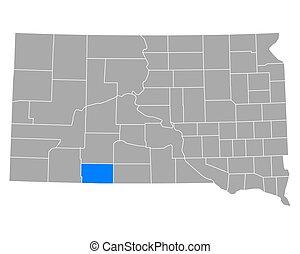 Map of Bennett in South Dakota