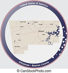 Map of Benton County in Arkansas - Round button with ...