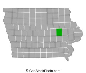 Map of Benton in Iowa